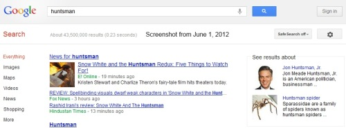 IMAGE- June 1, 2012, Google search on 'huntsman,' with informative sidebar