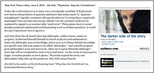 IMAGE- NY Times June 8, 2012, on Bertrand Russell (Jim Holt discusses physicists' churlishness) and on Queen Ravenna (A.O. Scott, 'The Darker Side of the Story')