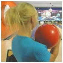 IMAGE- Josefine Lyche bowling, from her Facebook page