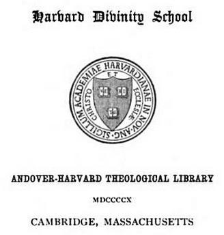 IMAGE- Harvard Divinity School bookplate dated 1910
