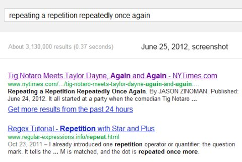 IMAGE- Google search on 'repeating a repetition...'