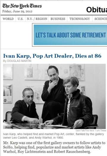 IMAGE- NY Times obit for Pop Art dealer Ivan Karp