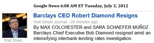 IMAGE- Resignation of Robert Diamond as Barclays CEO