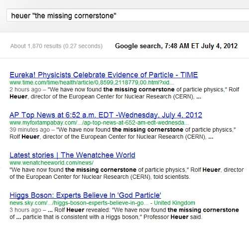 IMAGE- July 4th Google search for Heuer + 'The Missing Cornerstone'