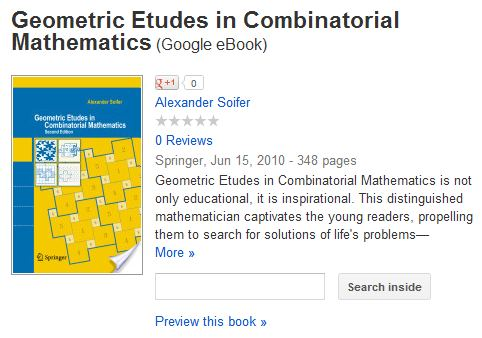 IMAGE- Google Books ad for 'Geometric Etudes in Combinatorial Mathematics,' by Alexander Soifer