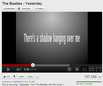 IMAGE- Beatles lyric 'There's a shadow hanging over me'