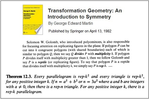 IMAGE- Theorem (12.3) on Golomb and 'rep-k^2' triangles in book published in 1982-- 'Transformation Geometry,' by George Edward Martin