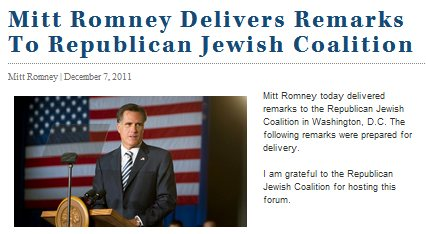 IMAGE- Mitt Romney Delivers Remarks to Republican Jewish Coalition