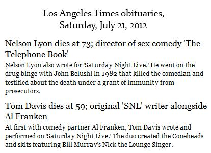 IMAGE- LA Times obits for two Saturday Night Live writers