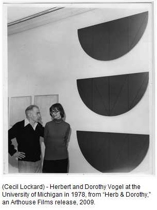 IMAGE- Herbert Vogel with abstract half-circle art in 1978