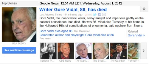 IMAGE- Gore Vidal has died.