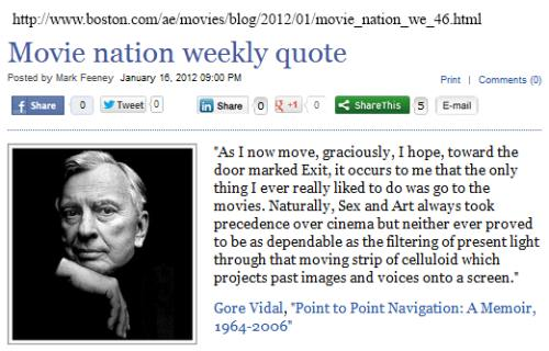 IMAGE- Gore Vidal at Movie Nation