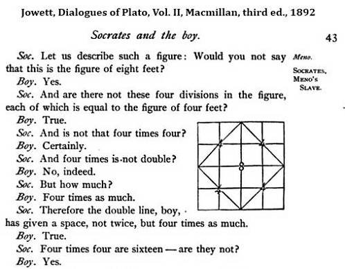 Plato's diamond in Jowett's version of the Meno dialogue