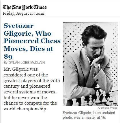 IMAGE- Serbian chess innovator Svetozar Gligoric dies at 89