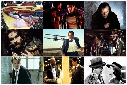 IMAGE- 3x3 grid of movie stills with 'North by Northwest' at center