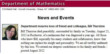IMAGE- Cornell mathematics department on the death of William P. Thurston on Aug. 21, 2012