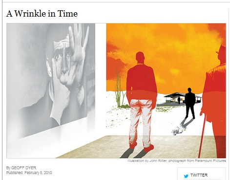 IMAGE- NY Times headline 'A Wrinkle in Time' with 24 Hour Psycho and Point Omega scene