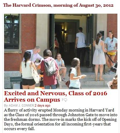 IMAGE- Harvard Class of 2016 arrives