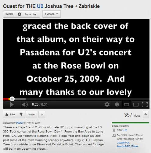 IMAGE- Video- On the road to the U2 Rose Bowl concert of Oct. 25, 2009- 'Quest for the U2 Joshua Tree + Zabriskie'
