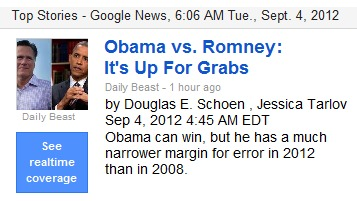 IMAGE- Daily Beast headline: election is 'Up for Grabs'- Google News 6:06 AM EDT