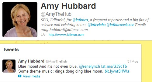 IMAGE- Amy Hubbard in an Aug. 31, 2012, tweet- 'Dinga dong ding, Blue Moon.'