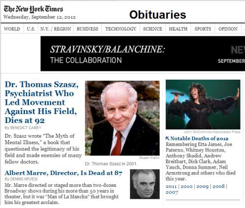 IMAGE- NYT obituaries-- psychiatrist Thomas Szasz and Broadway director Albert Marre-- with Stravinsky/Balanchine ad