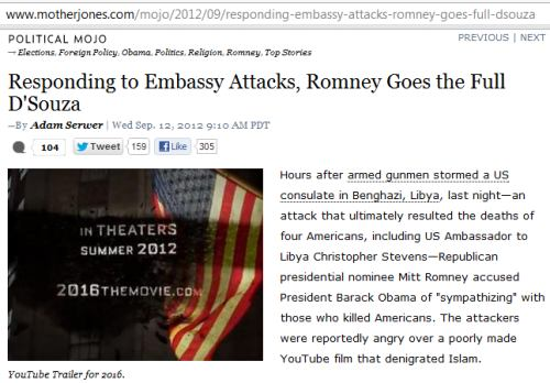 IMAGE- 'Romney Goes the Full D'Souza,' with picture of D'Souza film '2016'