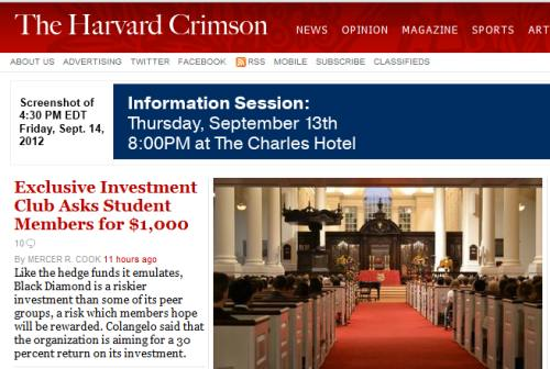 IMAGE- The Harvard Crimson on the new Black Diamond investment club for students