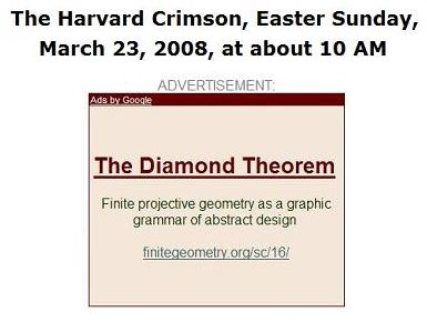 IMAGE- Harvard Crimson ad, Easter Sunday, 2008: 'Finite projective geometry as a graphic grammar of abstract design'