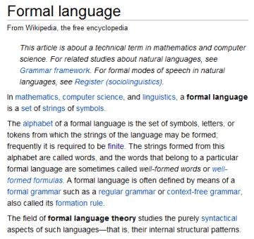 IMAGE- Wikipedia article 'Formal language'