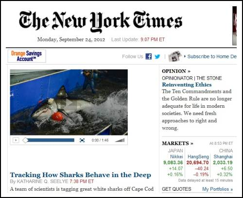 IMAGE- NY Times front page- JAWS MEETS MOSES, or 'How Sharks Behave' and 'Reinventing Ethics'