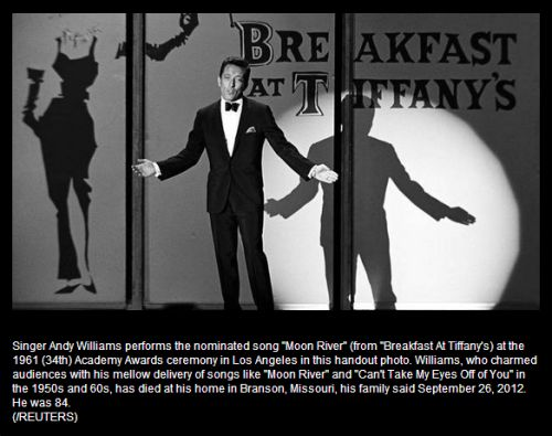 IMAGE- Andy Williams sings 'Moon River' from 'Breakfast at Tiffany's' at the Academy Awards on April 9, 1962.