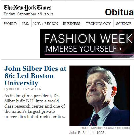 IMAGE- NY Times obit of former B.U. president with ad-- 'Fashion Week: Immerse Yourself.'