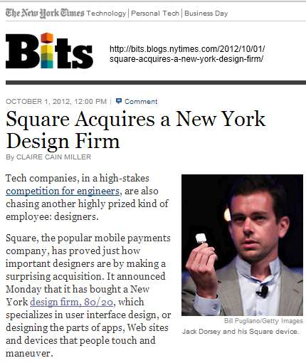IMAGE- 'Square Acquires a New York Design Firm' (NY Times, noon on October 1st, 2012)