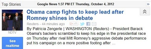 IMAGE- 'Obama camp fights to keep lead after Romney shines in debate'