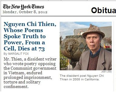 IMAGE- Oct. 8, 2012, NY Times obituary for Vietnamese imprisoned poet