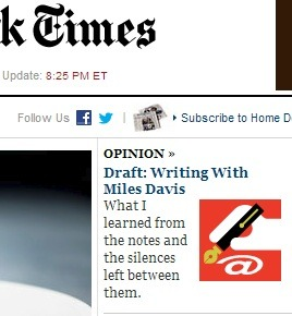 IMAGE- Learning from Miles Davis in the NY Times, 8:25 PM Oct. 9, 2012