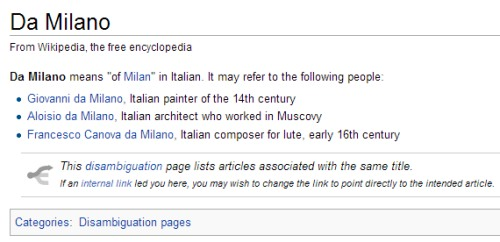 IMAGE- Wikipedia disambiguation page for 'Da Milano'