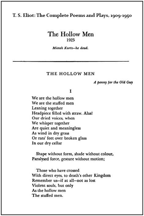 IMAGE- First page of 'The Hollow Men' in Eliot's 'Complete Poems and Plays' (1952)