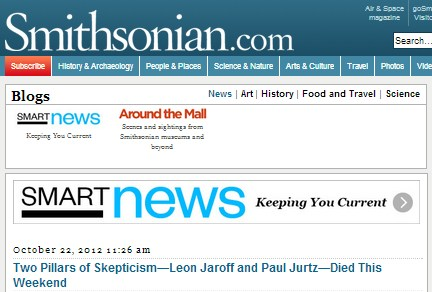 IMAGE- 'Two Pillars of Skepticism- Leon Jaroff and Paul Jurtz [sic] Died This Weekend