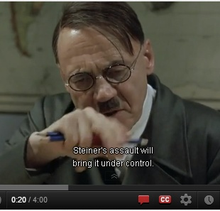 IMAGE- In 'Downfall,' Hitler says that 'Steiner's assault will bring it under control.'