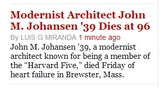 IMAGE- Harvard Crimson story on the late John M. Johansen, architect, Harvard '39