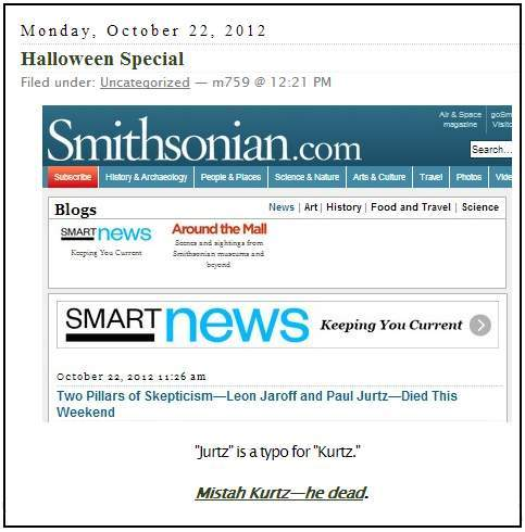 IMAGE- Smithsonian 'Smart News' reports the death of Paul Kurtz