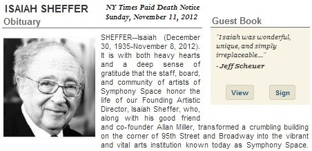 IMAGE- Isaiah Sheffer, paid death notice, first paragraph
