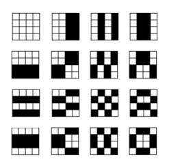 Fifteen partitions of a 4x4 array into two 8-sets
