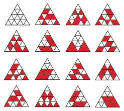 Fifteen partitions of an array of 16 triangles into two 8-sets