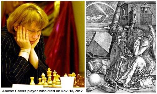IMAGE- Chess grandmaster and Dürer's angel with magic square