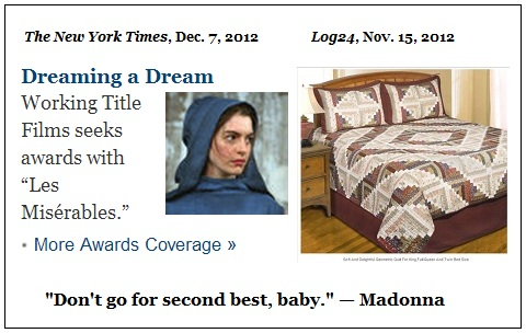 IMAGE- Anne Hathaway views diamond-quilt bed, captioned 'Don't go for second best, baby - Madonna'