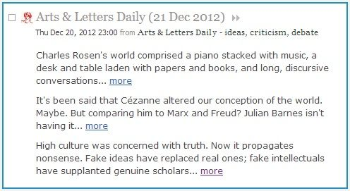 IMAGE- Arts & Letters Daily, feed from Dec. 21, 2012: Charles Rosen, Cezanne, and Roger Scruton on high culture