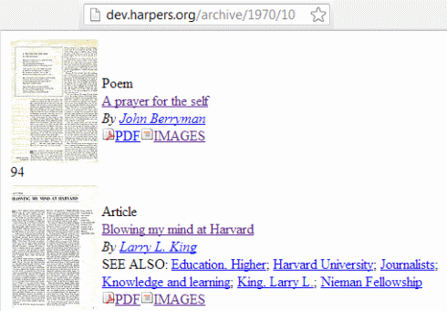 IMAGE- Harper's magazine, Oct. 1970, pp. 94-95: John Berryman poem and Larry L. King Harvard article